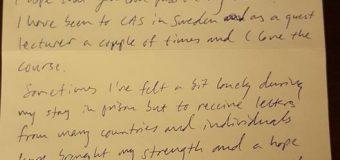 Letter From Sweden prisoner Martin Smedjeback