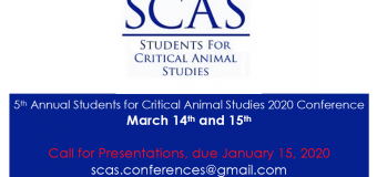 5th Annual Students for Critical Animal Studies Conference – March 14, 2020